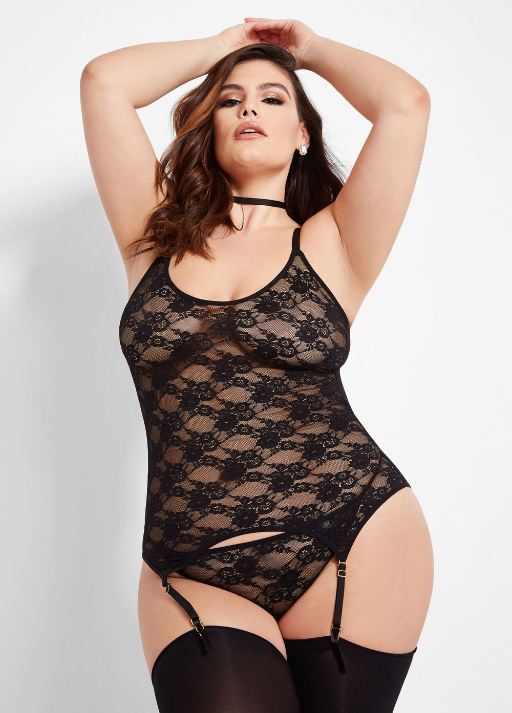 Garter Chemise Lingerie Set at AshleyStewart.com