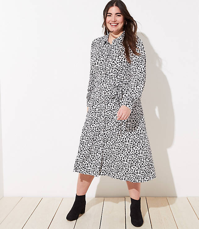 Plus Size Fashion for Women Over 40- LOFT PLUS LEOPARD PRINT TIE WAIST SHIRTDRESS