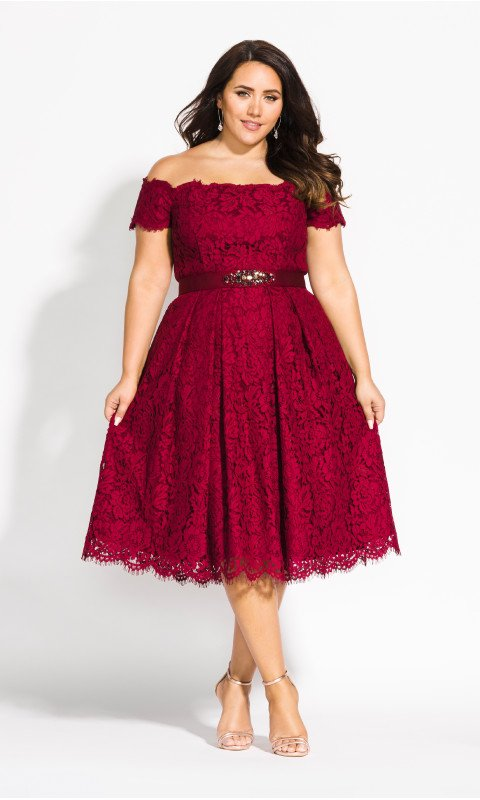 Plus Size Fashion for Women Over 40- Lace Dreams Dress at City Chic