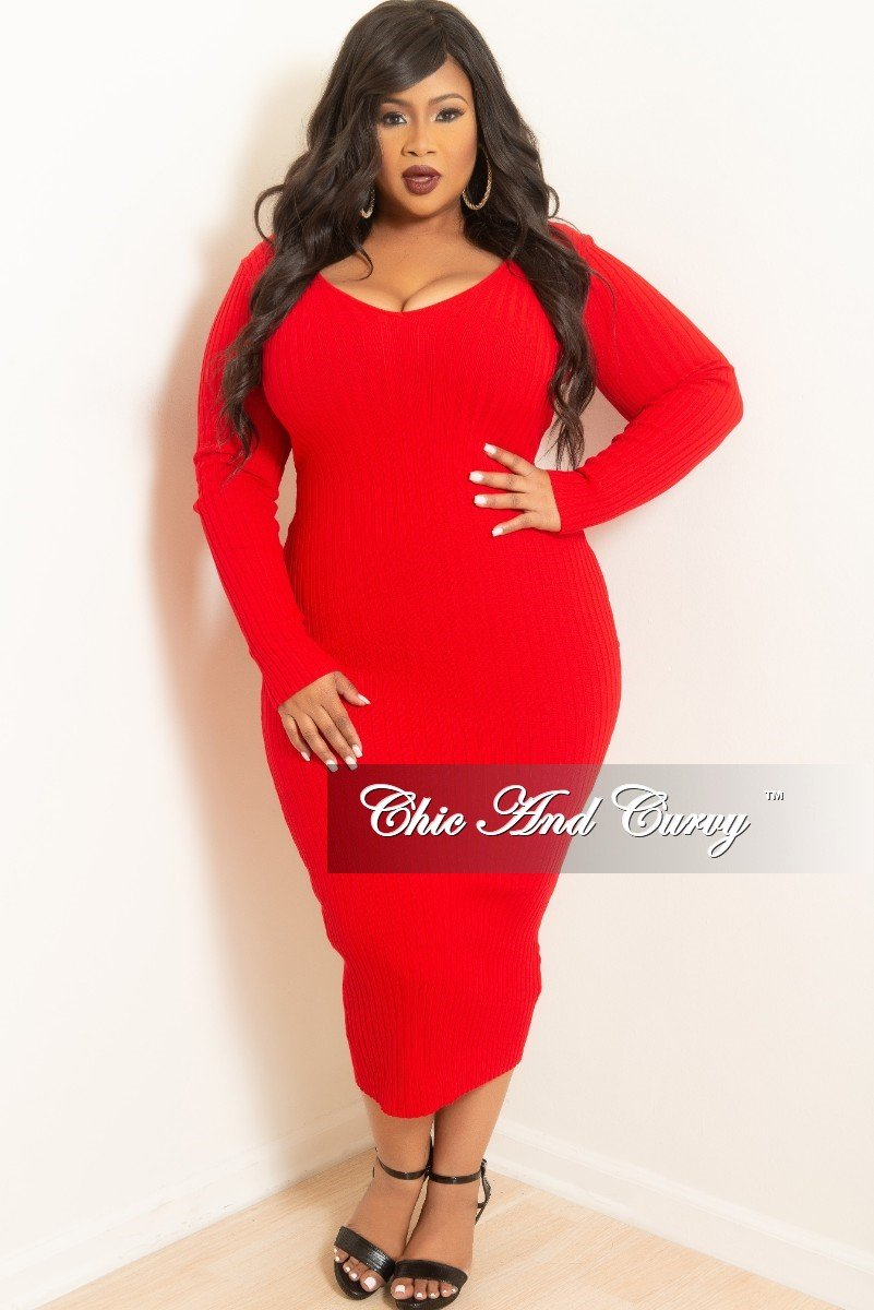 Plus Size Ribbed Knit Dress in Red at Chic and Curvy