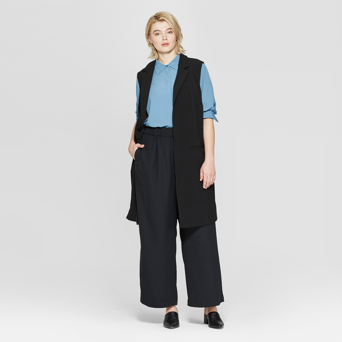 Plus Size Sleeveless Open-Front Longline Vest - Prologue