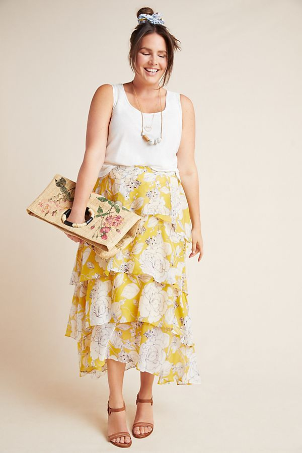 Mosier Tiered Maxi Skirt by Anthropologie Aplus