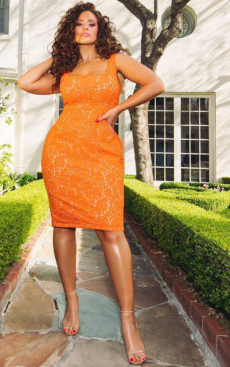 The Prettiest of Spring's Plus Size Dresses: Orange Square Neck Lace Midi Dress