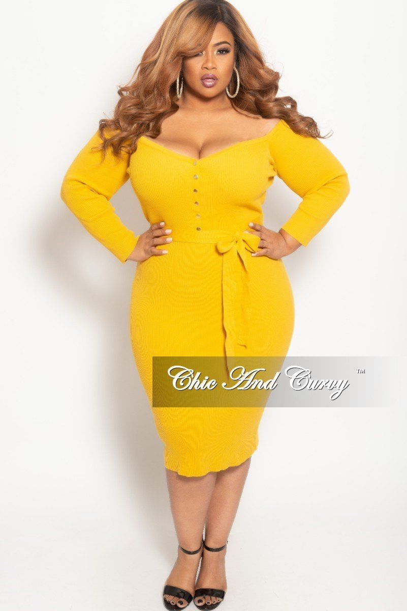 ddf85543e27 The Prettiest of Spring s Plus Size Dresses  Plus Size Off the Shoulder Button  Up BodyCon
