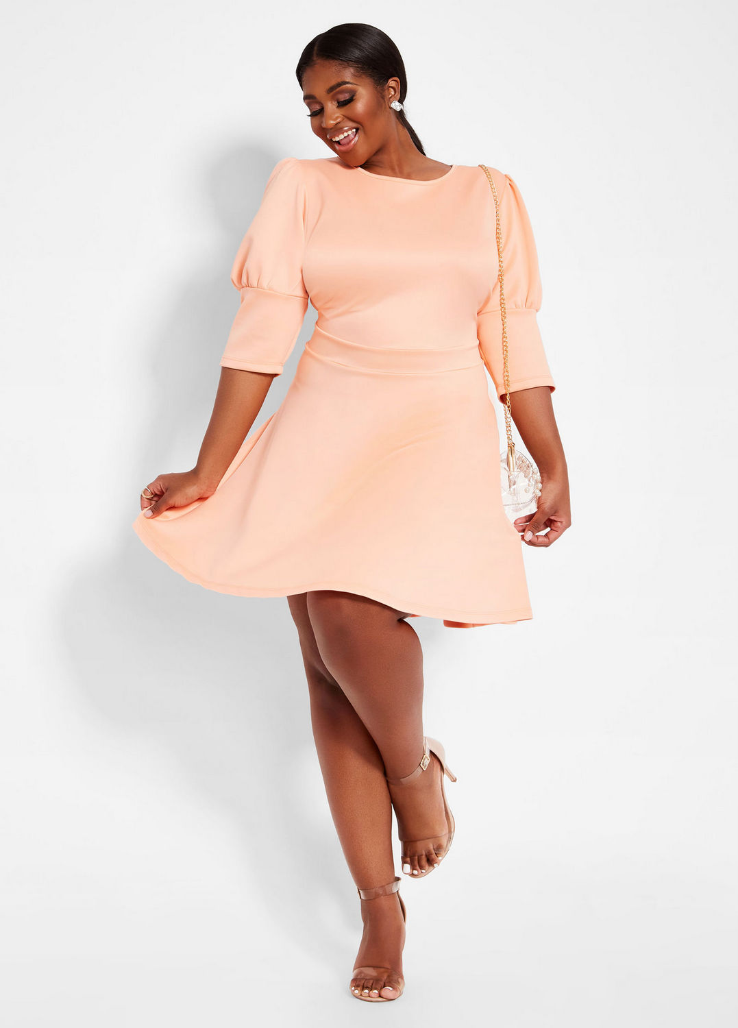 The Prettiest of Spring's Plus Size Dresses: Puff Sleeve Plus Size Skater Dress