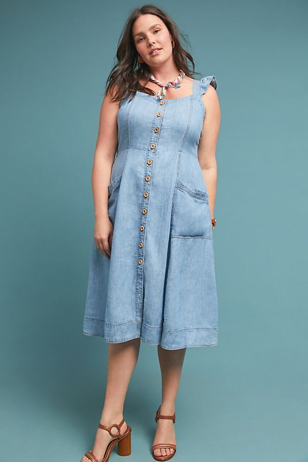 Rostand Button-Front Midi Dress by Anthropologie Aplus