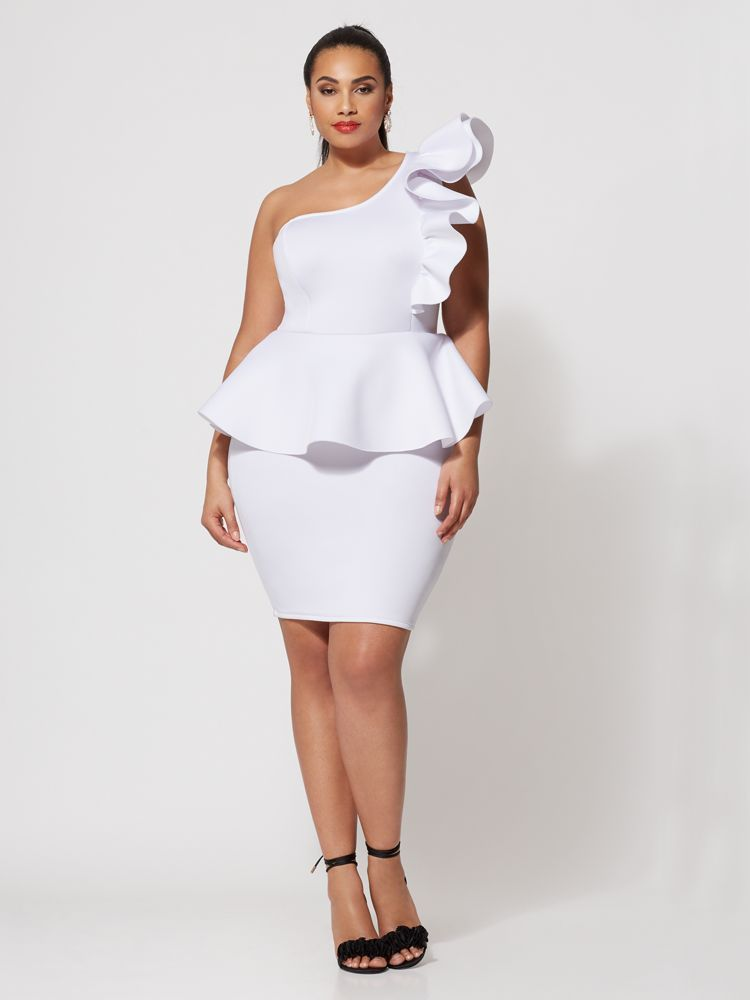 7 Plus Size Spring Dresses from Fashion to Figure- Camille Drama Plus Size Bodycon Dress