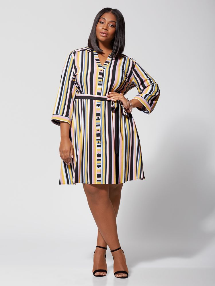 28a06bbbe18 7 Plus Size Spring Dresses from Fashion to Figure- Dinah Striped Plus Size  Shirt Dress