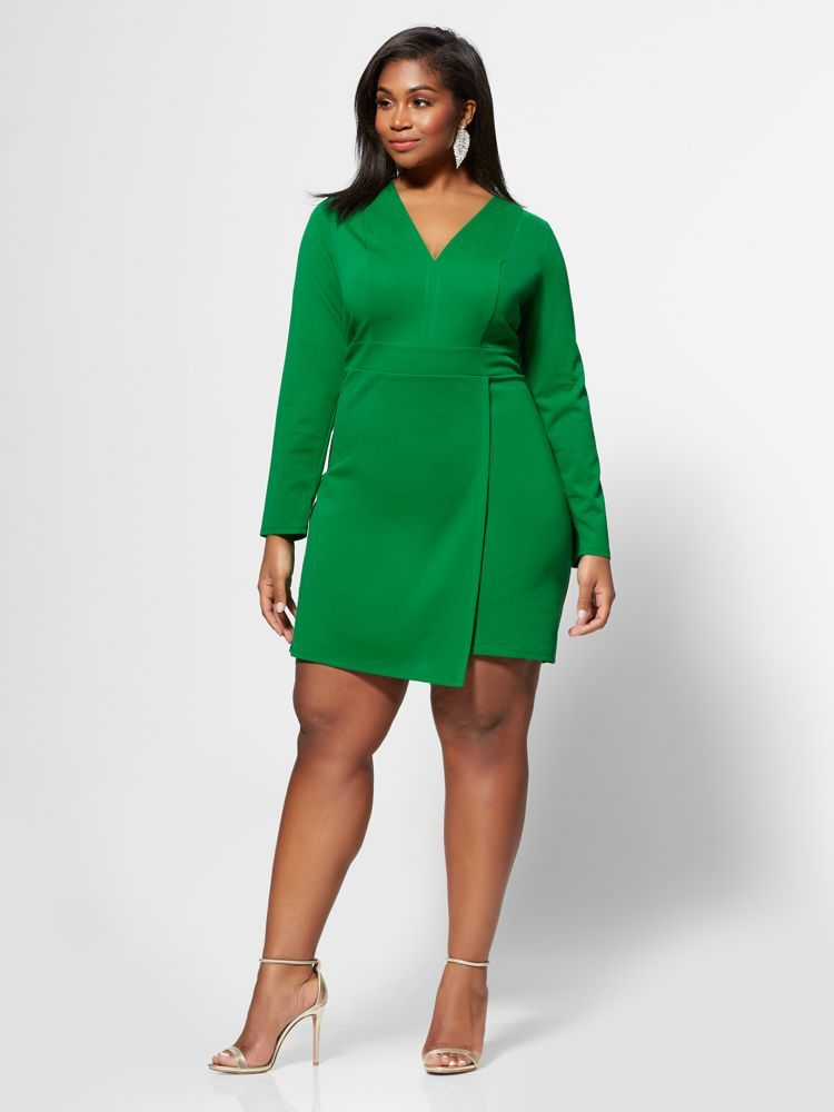 7 Plus Size Spring Dresses from Fashion to Figure- Jayda Faux-Wrap Plus Size Dress