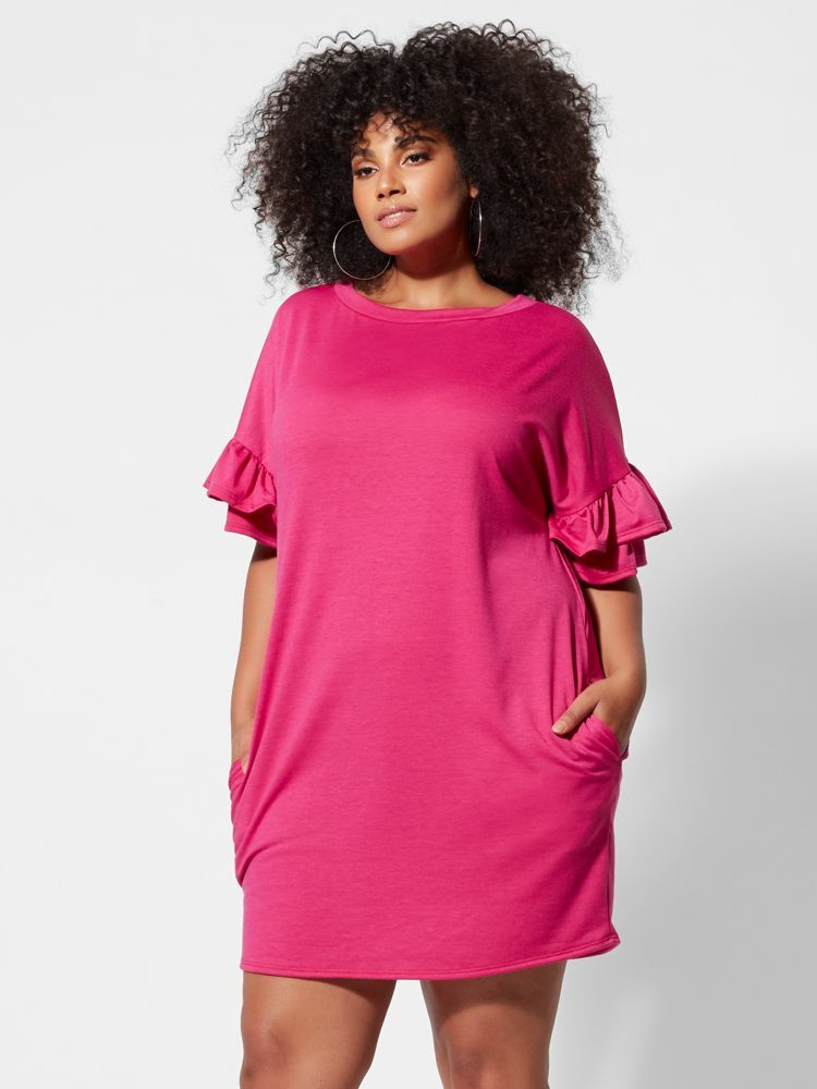 7 Plus Size Spring Dresses from Fashion to Figure- Lila Ruffle-Sleeve Plus Size Shift Dress