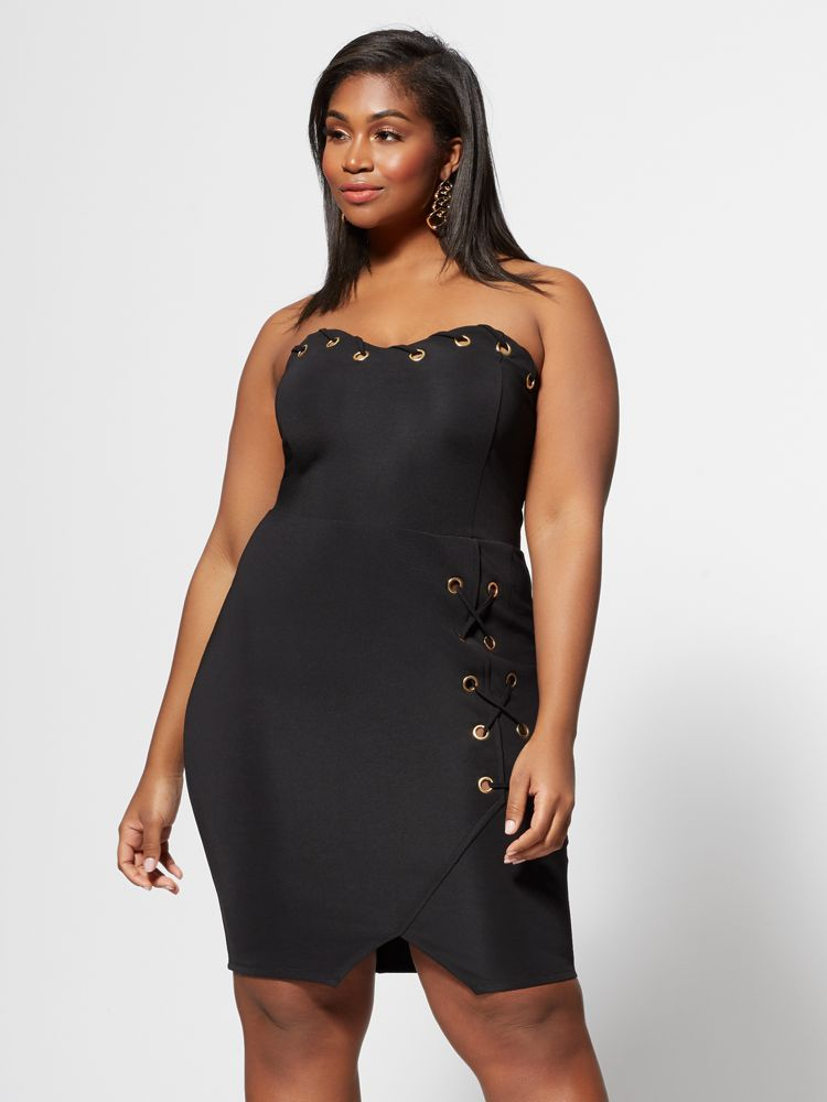 7 Plus Size Spring Dresses from Fashion to Figure- Logan Grommet-Detail Plus Size Bodycon Dress