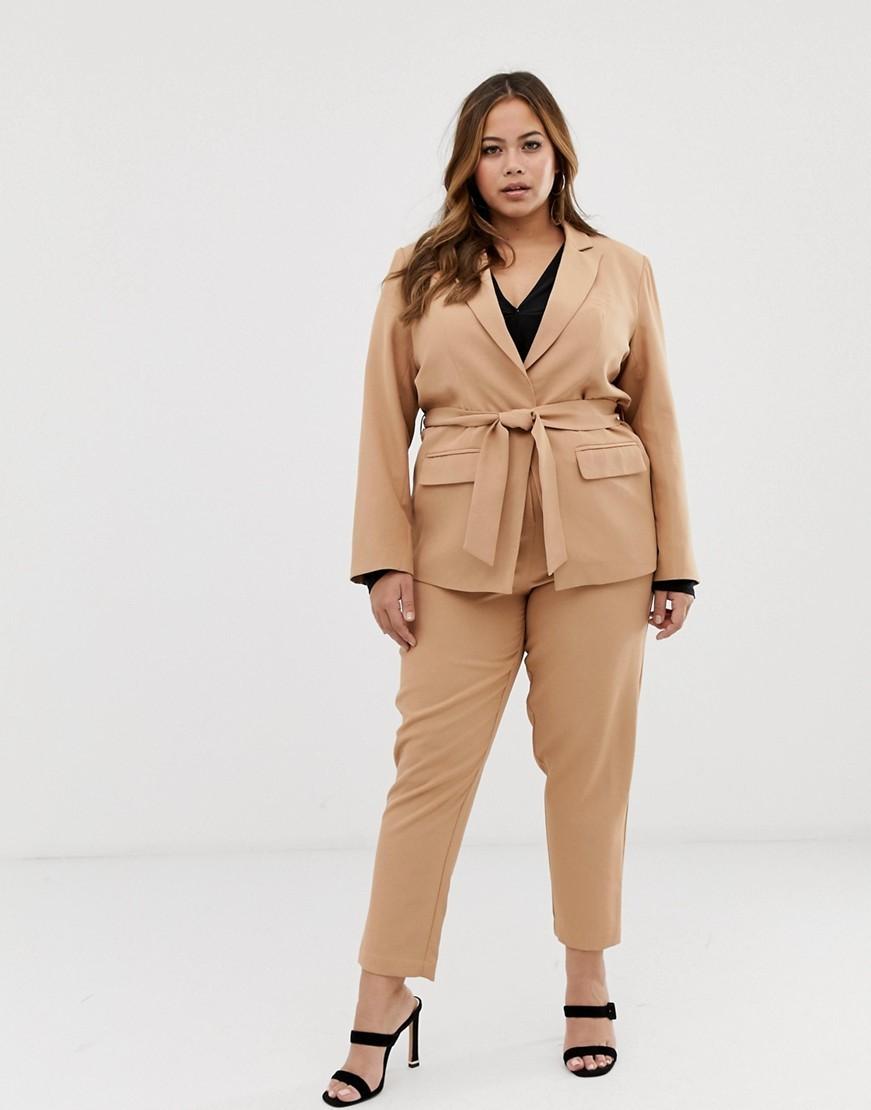 Plus Size Suits for Spring- Fashion Union Plus blazer with tie waist two-piece