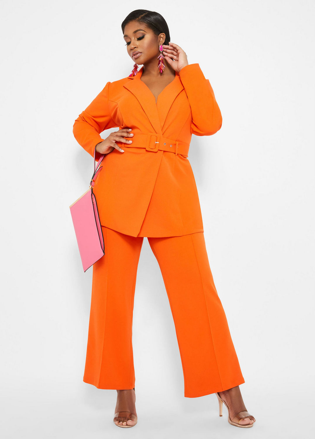 Spring Plus Size Suiting- Long Jacket With Self Belt with Pintuck Pant