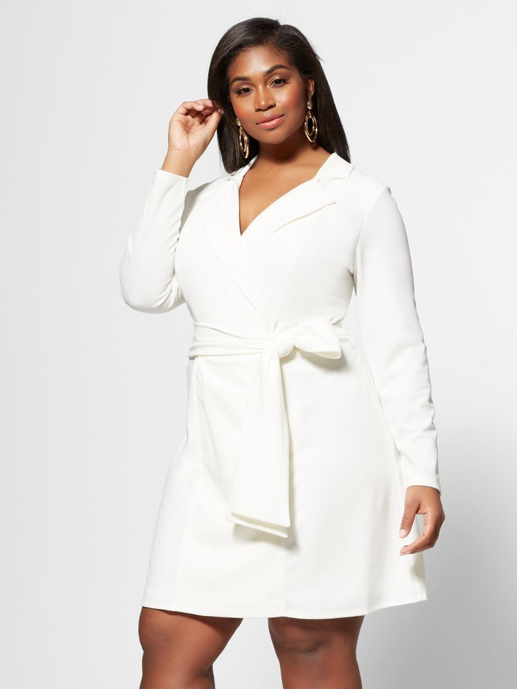 7 Plus Size Spring Dresses from Fashion to Figure- Tallulah Wrap Plus Size Blazer Dress