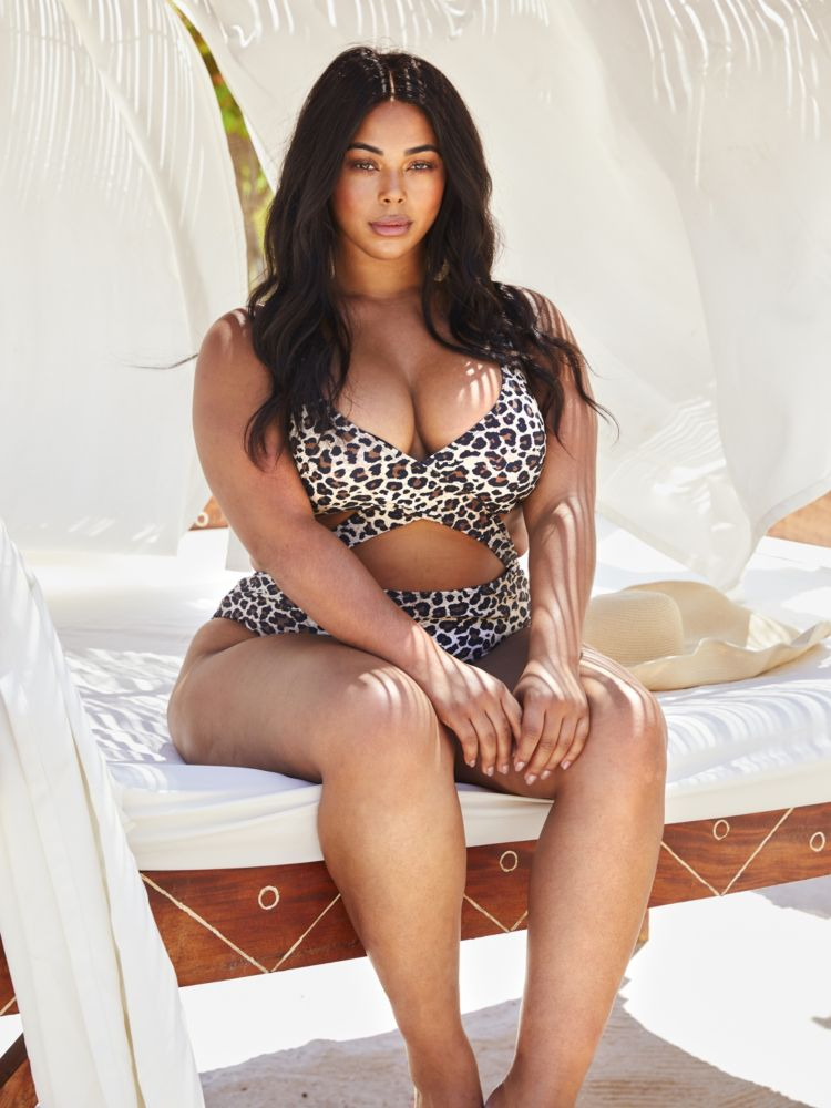 Alicia Leopard Print One-Piece Plus Size Swimsuit at Fashion to Figure