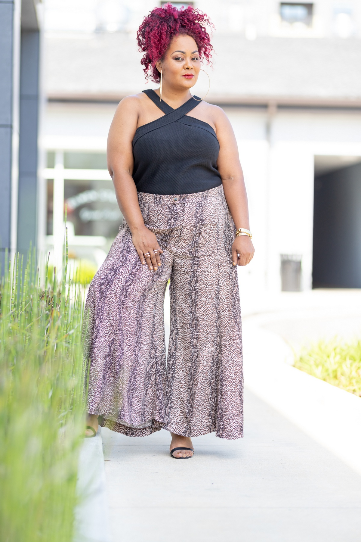 Anthropologie Plus Sizes Wide Leg Snakeprint pants- The Curvy Fashionista