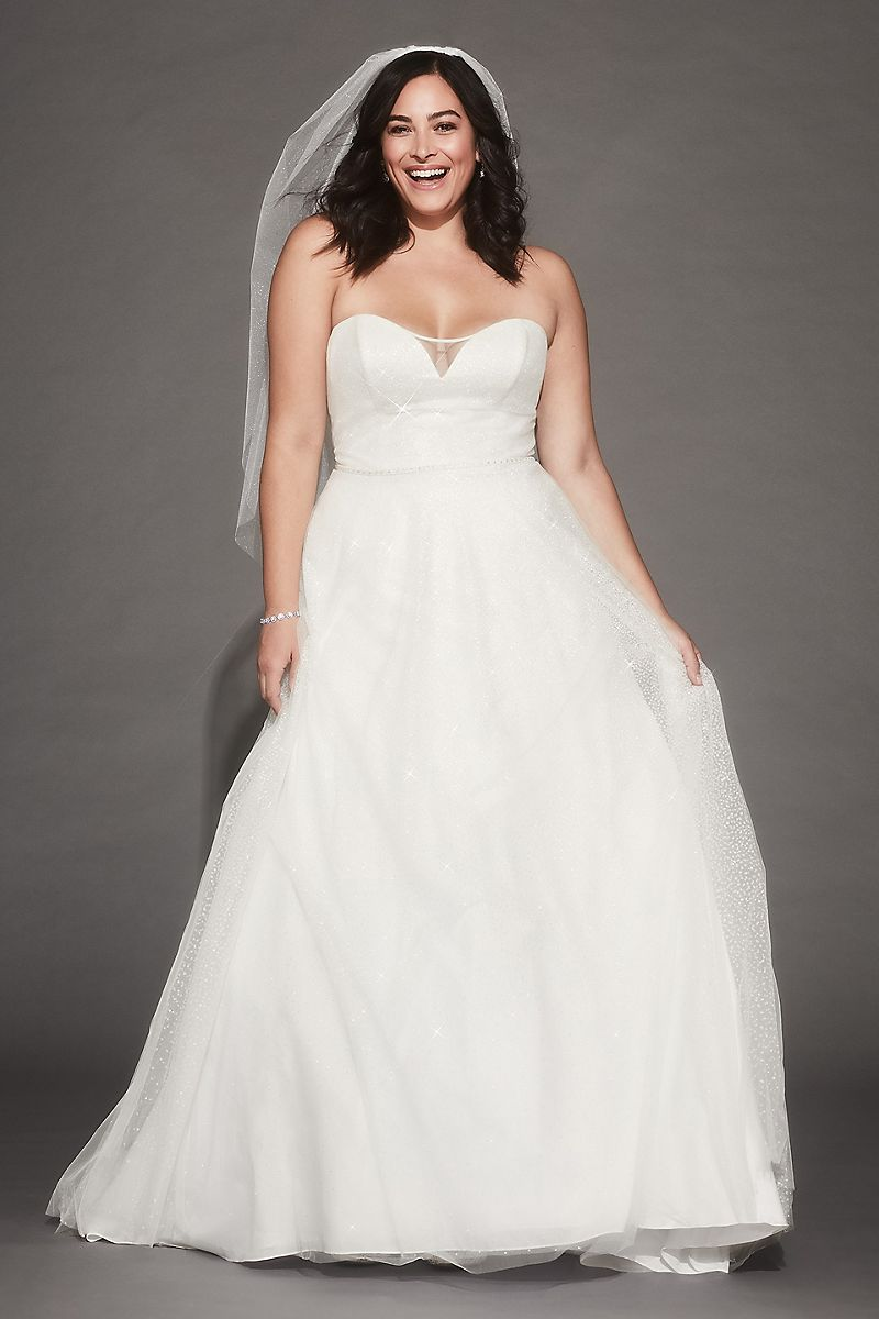 Affordable Plus Size Bridal Gown- Gradient Glitter Tulle Plus Size Wedding Dress 1