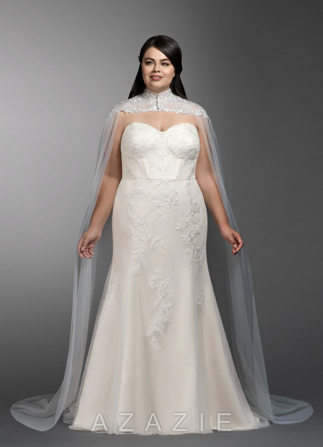 Guadalupe Plus Size Wedding Gown with Cape at Azazie