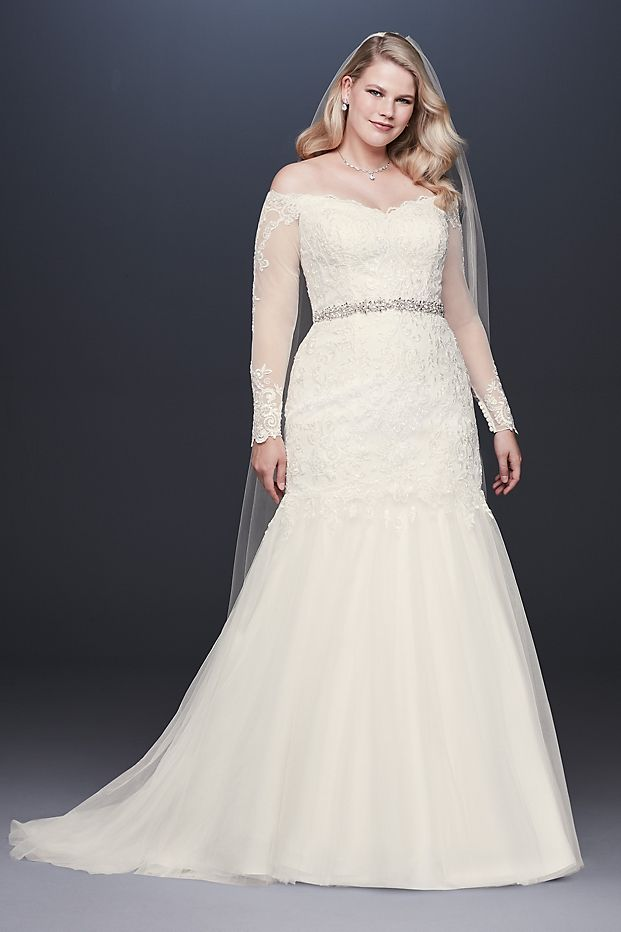 Affordable Plus Size Wedding Gowns- Long Sleeve Off-Shoulder Plus Size Wedding Dress
