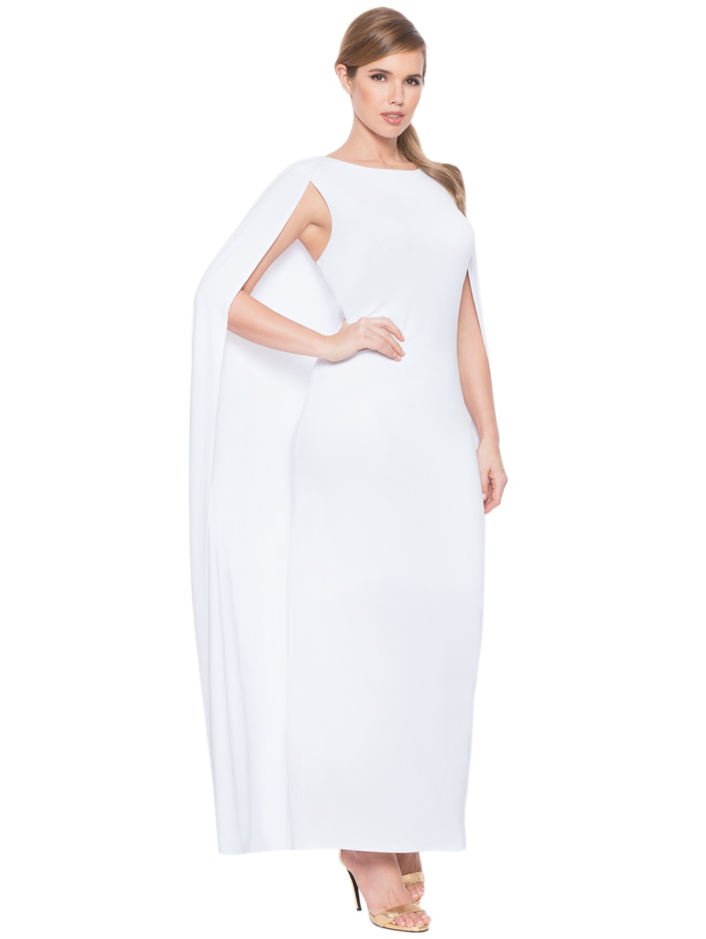 Affordable Plus Size Bridal Gowns- Studio Jersey Capelet Gown