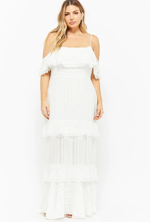 Plus Size Flounce Maxi Dress