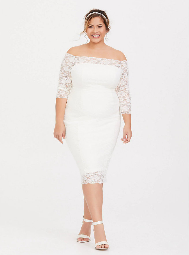 Special Occasion Ivory Lace Off Shoulder Bodycon Dress