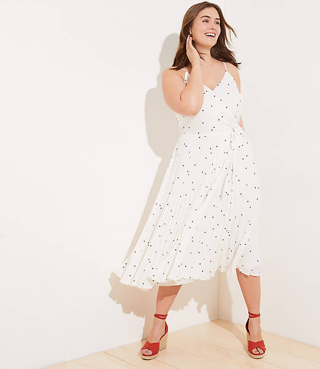 LOFT Plus Dotted Pleated Wrap Midi Dress