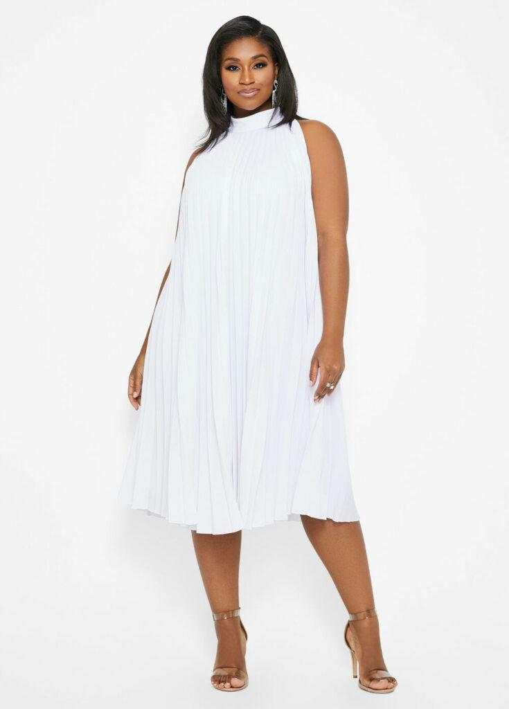 Plus Size Pleated Mock Neck Dress