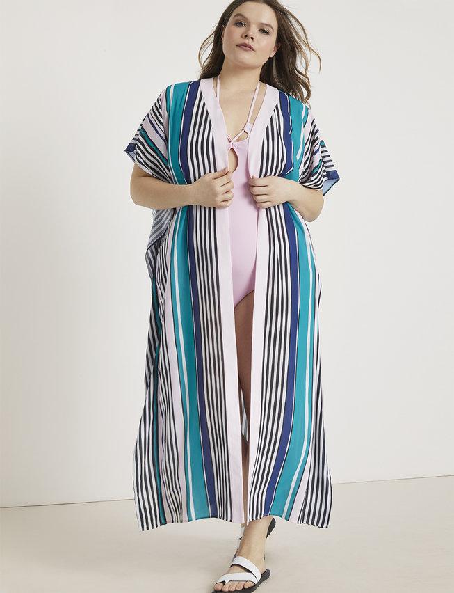Printed Maxi Kimono Coverup from Eloquii