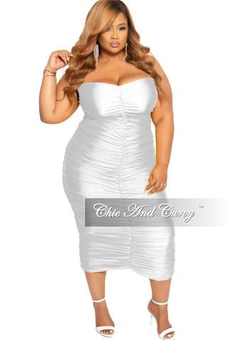 Plus Size Strapless Ruched BodyCon Dress in White