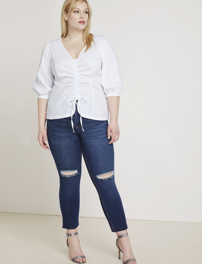 eloquii semi annual clearance- Distressed Knee-Slit Skinny Ankle Jean