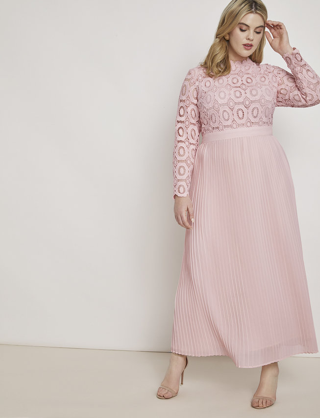 Eloquii lace and pleat maxi