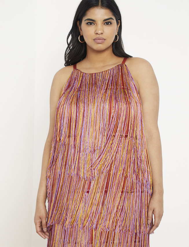 eloquii semi annual clearance- Fringe Midi Dress