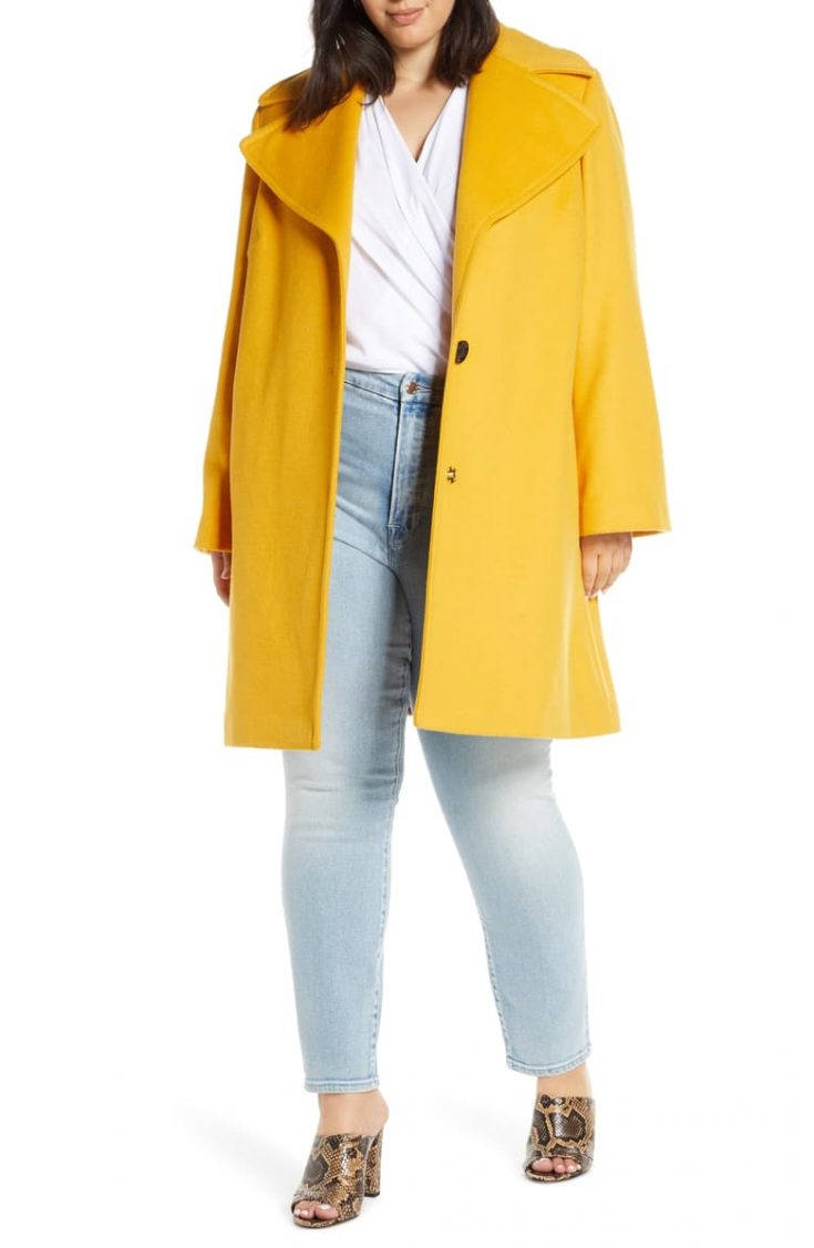 Oversize Lapel Wool Blend Coat