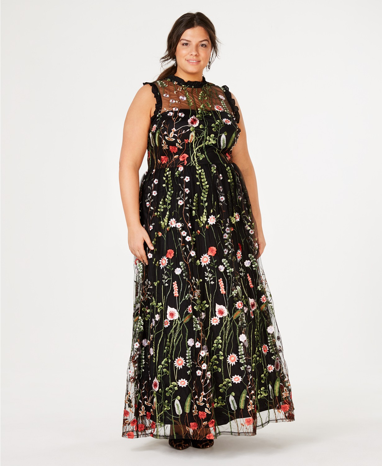 Macy's embroidered maxi