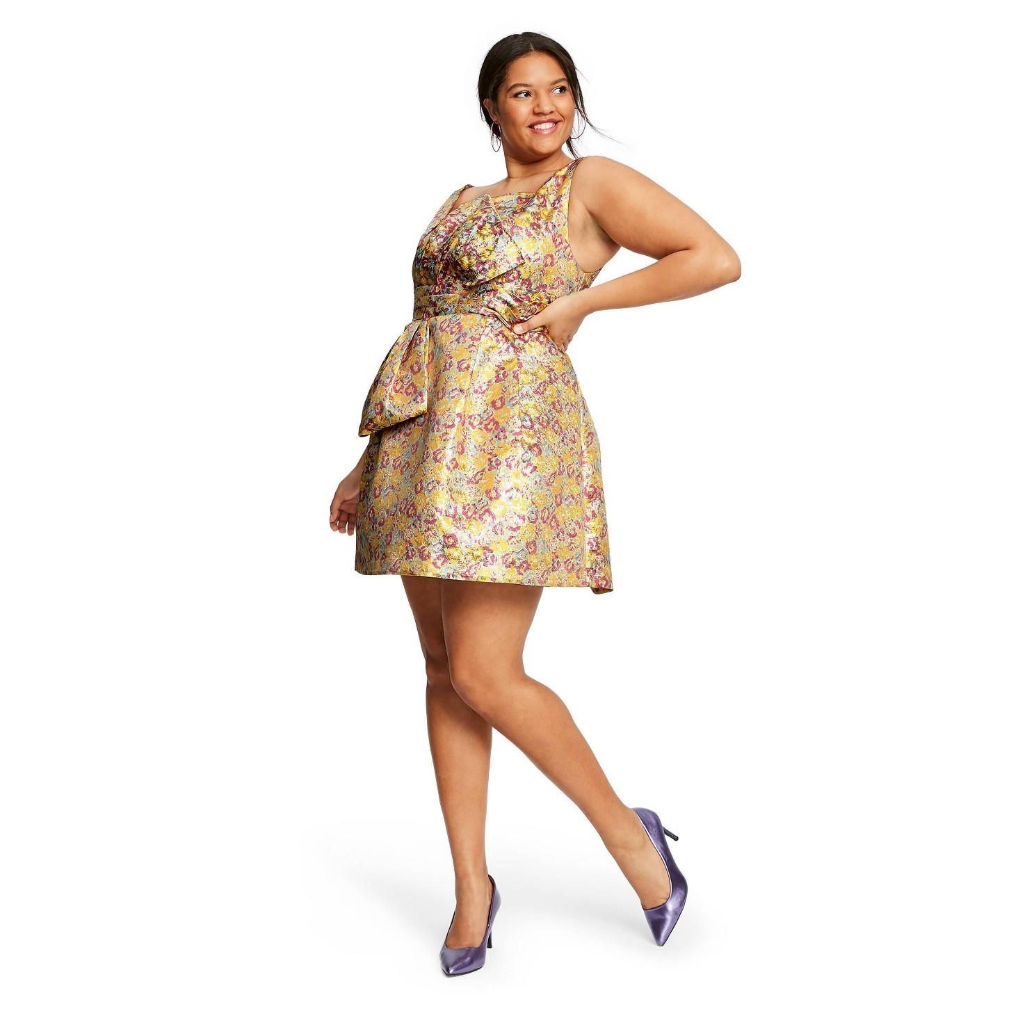 Zac Posen for Target Plus Size Floral Print Sleeveless Brocade Mini Dress