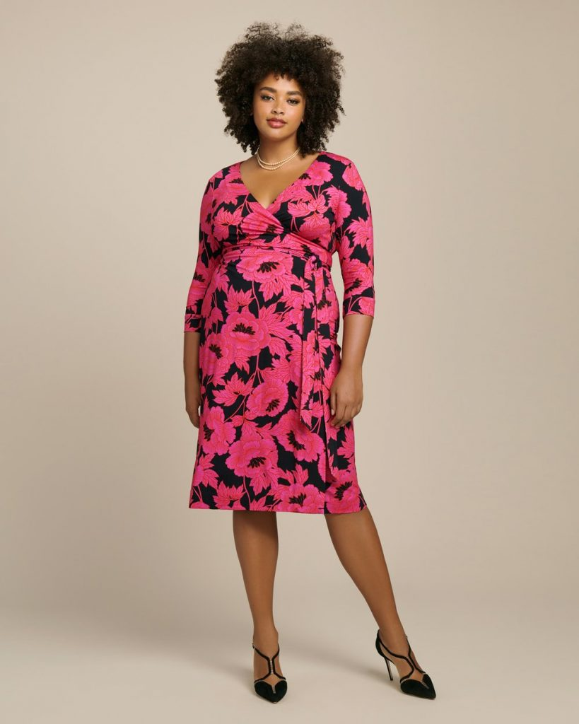 Julian Two Classic Wrap Dress by DVF in Plus Sizes at 11 Honore- Floral