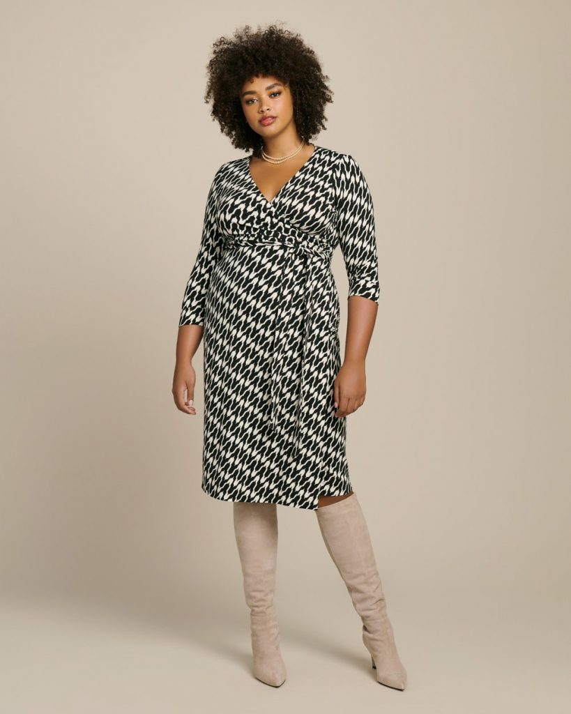 Julian Two Classic Wrap Dress by DVF in Plus Sizes at 11 Honore- Houndstooth