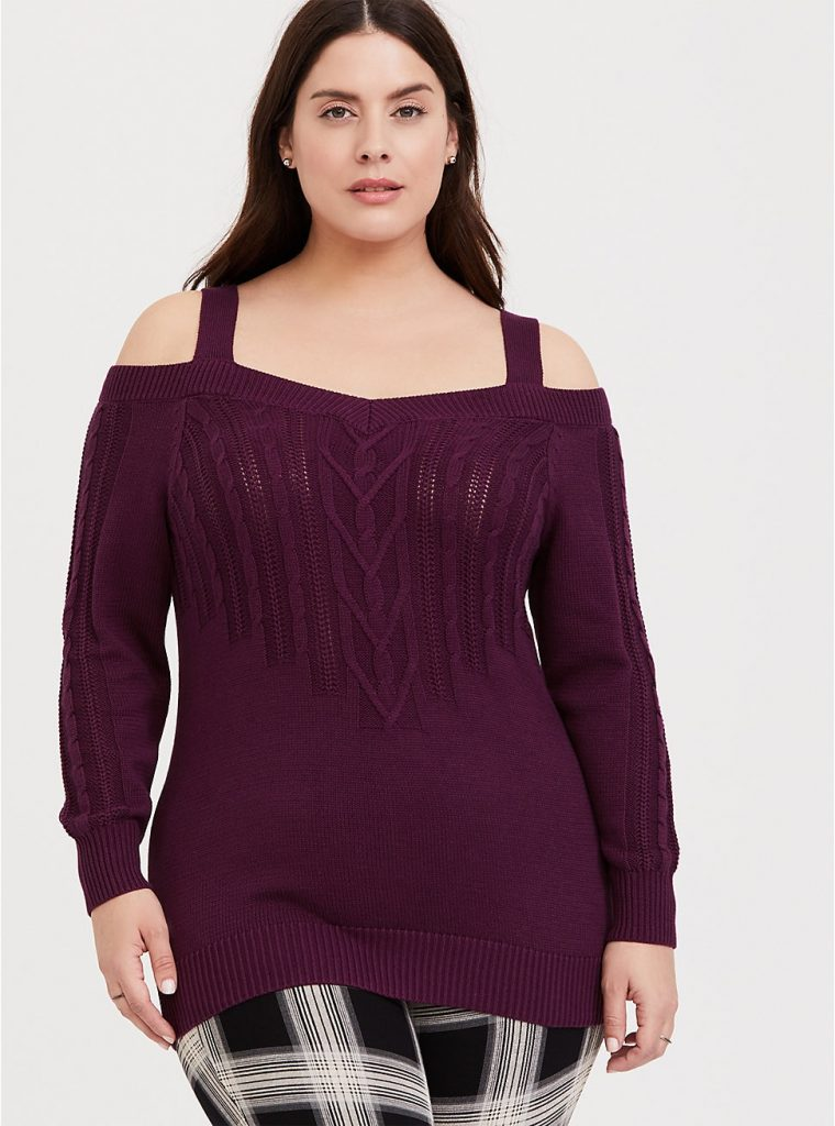 Torrid purple cable sweater