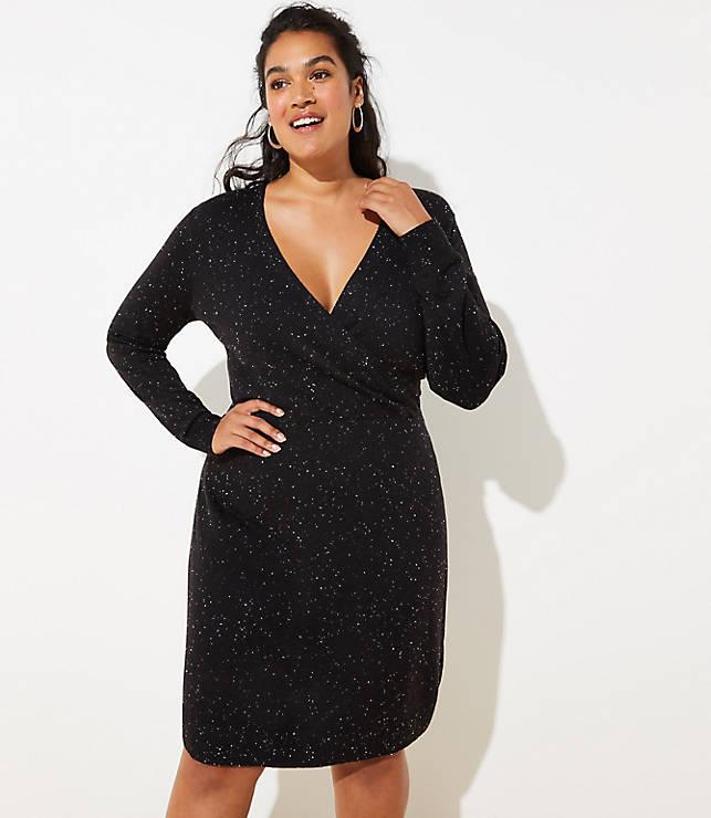 Plus Flecked Wrap Sweater Dress