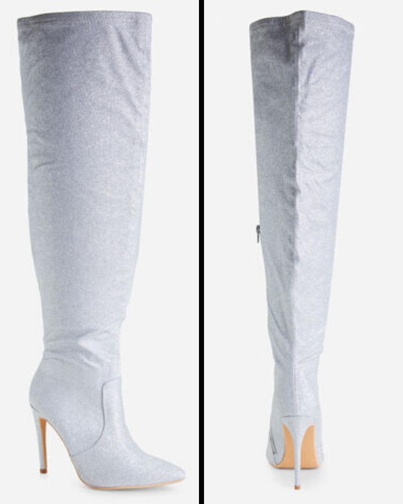Glitter Thigh High Boots from Ashley Stewart