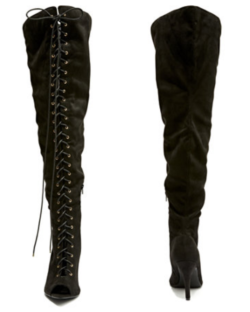 Laced up Black Thigh-High Boots from the Nadia x FTF Collection