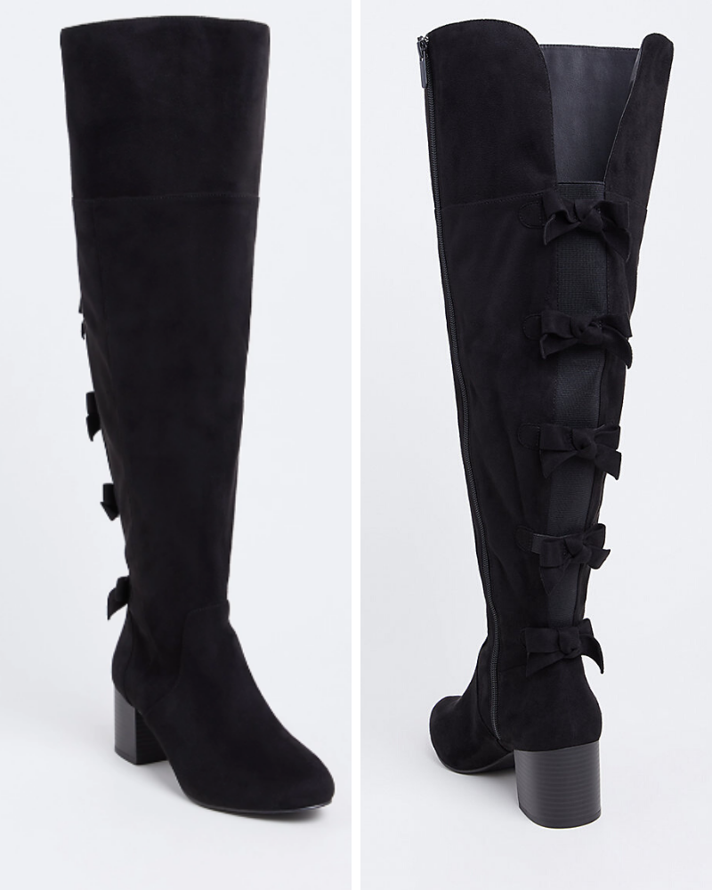 Black Faux Suede Bow Back Over the Knee Boots from Torrid