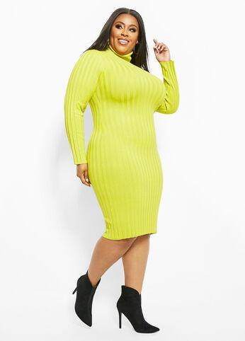 Neon Turtleneck Sweater Dress