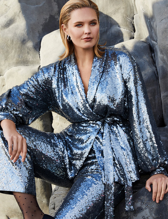 Eloquii plus size sequins jacket and wide leg sequins pants