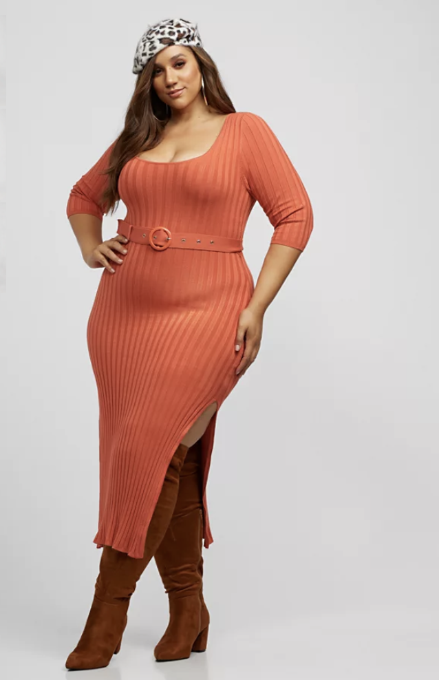 Belted Sweater Maxi Dress