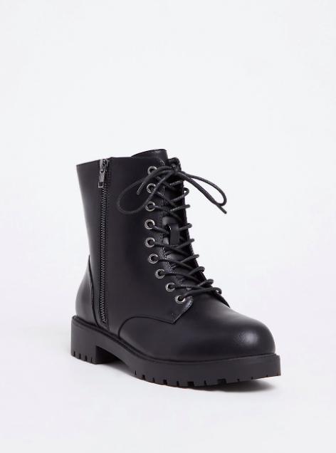 Black Faux Leather Combat Boot