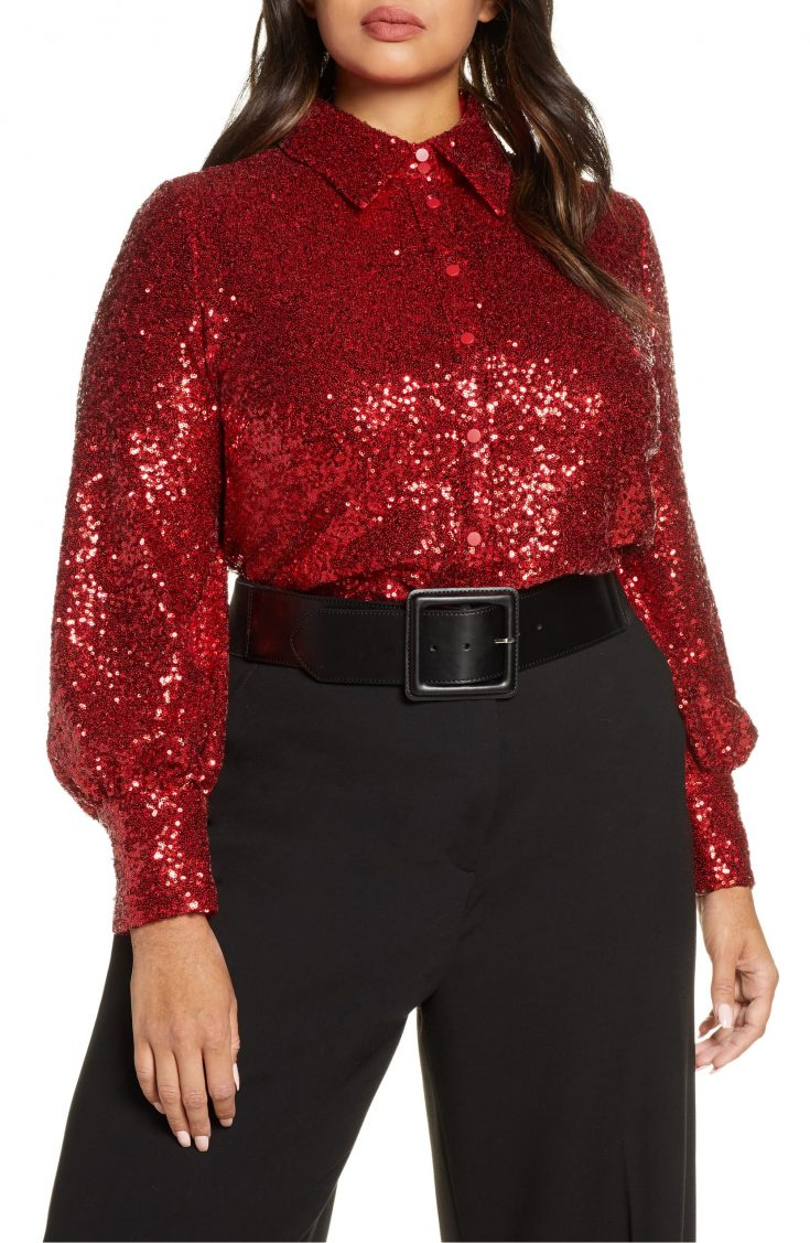 x Atlantic-Pacific Bishop Sleeve Sequin Shirt