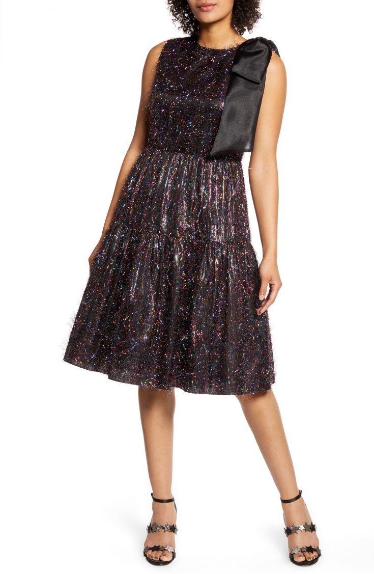x Atlantic-Pacific Bow Tinsel A-Line Dress