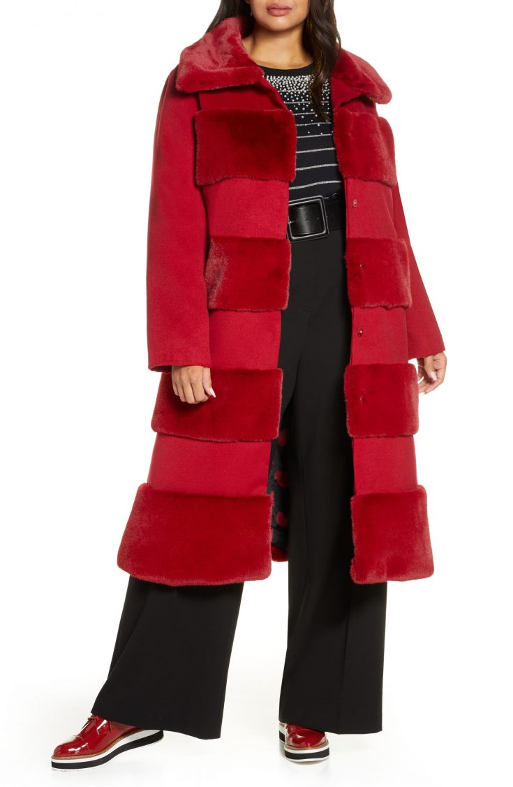 x Atlantic-Pacific Faux Fur Tiered Stripe Long Coat